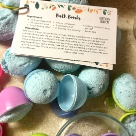 bath bombs and recipe cards