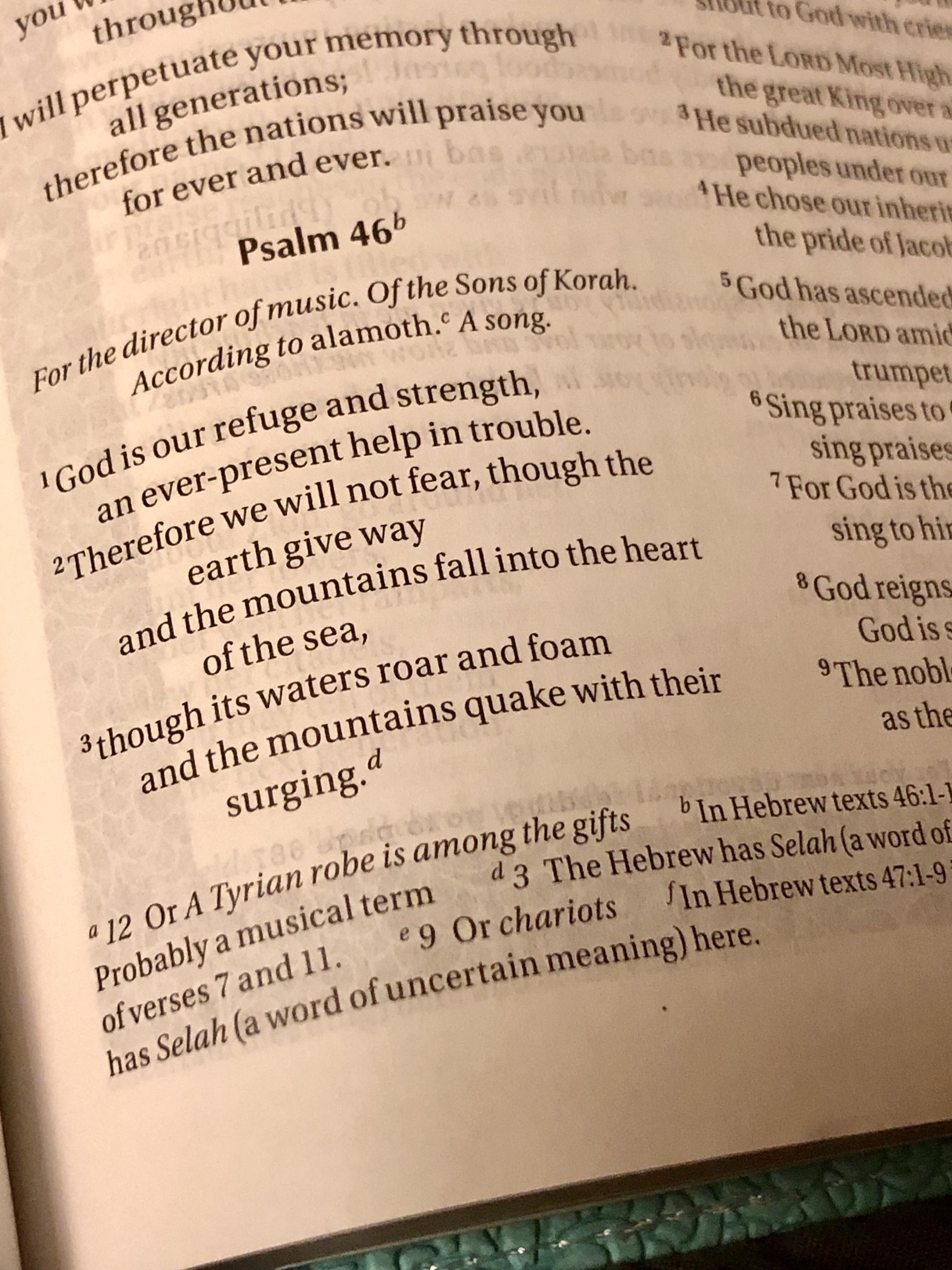 Scripture in a bible Psalm 46