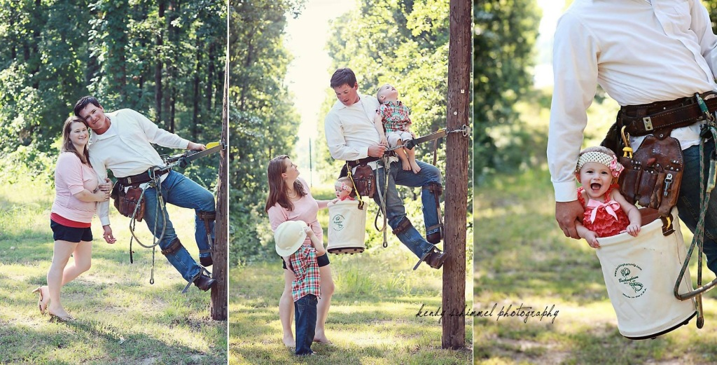 lineman on a pole with wife and kids